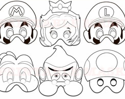 Máscaras de Colorir Super Mario Bros