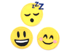 Patches Bordados Emojis Sorriso Vergonha e Sono - 3 patches