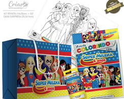 Caixa Surpresa + Kit de colorir - Super Hero Girls