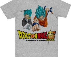 Camiseta Infantil Cinza Dragon Ball Goku e Vegeta