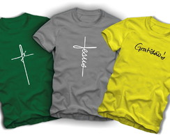 4a74b33d3 Kit 3 Camisetas Plus Size Tamanho Especial Fé Jesus Gratidão no Elo7 ...