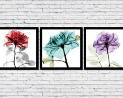 Kit 3 Quadros Decorativos Flores Coloridas Abstratas