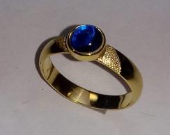 Anel Pedra Azul Safira com Ouro   Elo7 479ea6687a