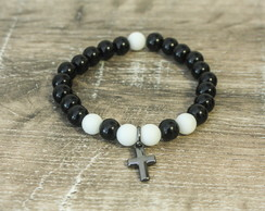 Pulseira Cross Black and White