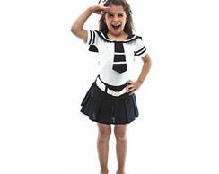 9669a3a99 ... Fantasia Marinheira Mirim Infantil Feminino Carnaval