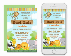 Convite Safari Baby Digital Virtual Imprimir