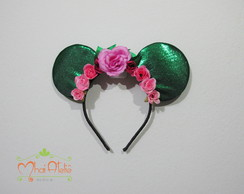 Tiara Orelha do Mickey com Flores