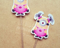 Topper para doces Minions rosa