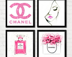 Quadros Vogue Chanel Fashion Perfume Rosa Moldura e Vidro A