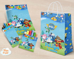 Kit colorir giz massinha e sacola Robocar Poli