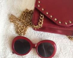 0ac23460291c2 Oculos de Sol Feminino Branco com Vermelho   Elo7