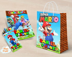 Kit colorir giz sacola Super Mario
