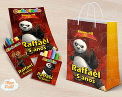 Kit colorir giz massinha e sacola Kung Fu Panda