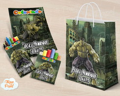 Kit colorir giz massinha e sacola Hulk
