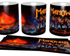 Caneca bandas de rock Manowar heavy metal fire hard