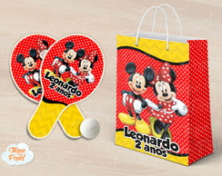 Kit Raquete personalizada mickey e minnie