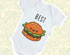 Body Infantil Bebê Poliéster Best Friends Hamburguer B566BRP