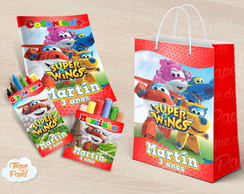 Kit colorir giz massinha e sacola Super Wings