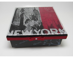 Porta Documentos New York Flocagem MDF 15x15x5cm