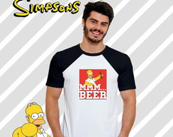 Camiseta Raglan Série Os Simpsons Homer beer