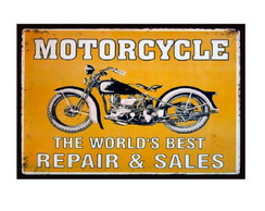 Placa Decorativa Quadro Retro Moto - 20x30cm