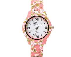 dd5622df072 ... Relógio Geneva de Flor Rosa Pulseira Emborrachado