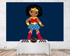 Painel Desenho Infantil 3d Mulher Maravilha Baby Negra 3x2m No