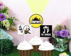 Arte Digital para Topper de docinho ou cupcake Fortnite