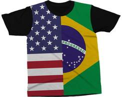 ... Camiseta Bandeira Brasil EUA País Blusa Camisa Estampada cd5918279d314