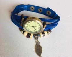 20e46e2c7f ... Relógio De Pulso Feminino em Couro Azul Marinho Vintage