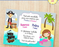 Convite Digital Duplo Piratas e Sereias