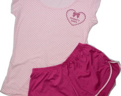 Sleepwear em poá Mother's Heart rosa