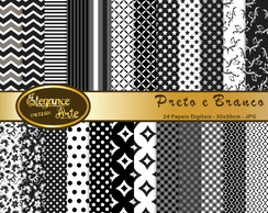 Papel Digital Elegance Preto e Branco
