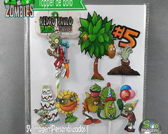 Topper de Bolo Plants vs Zombie Birthday