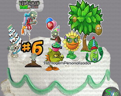 Plants vs Zombies Birthday Topper de Bolo