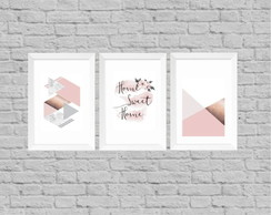 Kit quadros decor home sweet home