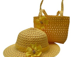 ... Chapéu De Praia Infantil E Bolsa Praia Para Menina Amarelo b2a21823c10