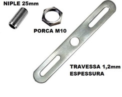 Kit 40 Niples M10 2,5cm + 40 Porcas M10 + 40 travessas
