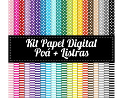 Kit Papel Digital Poá + Listras