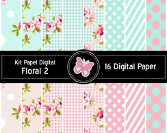 Kit Papel Digital Floral 16 Papéis.