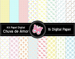 Kit Papel Digital Chuva de Amor