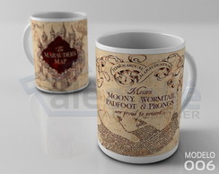 Caneca Harry Potter Hogwarts Mapa do Maroto Marauders Map