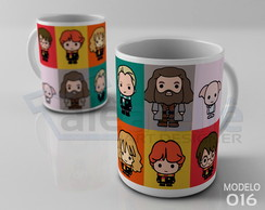 Caneca Harry Potter Chibi Cute Hogwarts Porcelana
