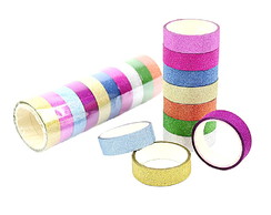 Fita Adesiva Decorativa Glitter Washi Tape Scrapbook 10 Unid