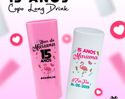 Copos Long Drink Personalizado Festa Tropical & Flamingos