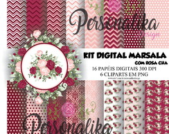 KIT DIGITAL MARSALA COM ROSA CHÁ
