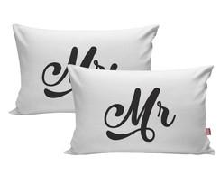 frases de cama Kit 2 Fronha Travesseiro 70x50 Frases Cama Casal Mrs Mr Amor