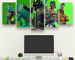 Kit 5 Quadros Fortnite - 1,20 X 0,60cm