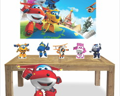 Kit 6 Display Festa Super Wings + Painel lona