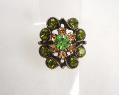 Anel Flores Strass Verde